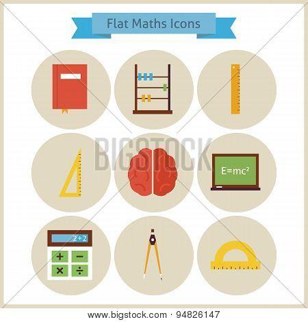 Flat School Maths And Physics Icons Set