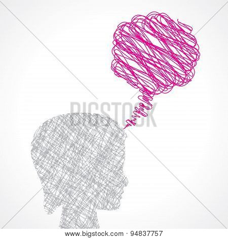 abstract speech bubble with female face stock vector