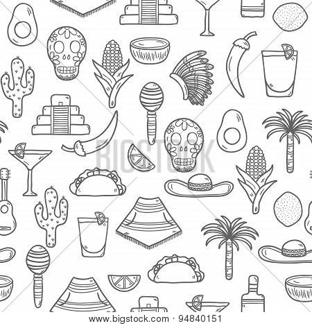 Seamless  background with cute hand drawn objects on Mexico theme: sombrero, poncho, tequila, coctai