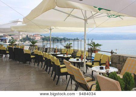 Summer cafe on the coast of the Adriatic sea, Croatia, Opatija