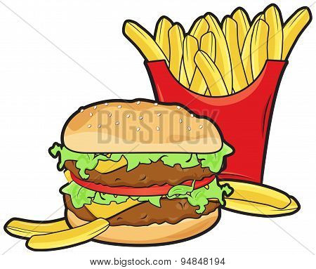 Hamburger and frenchfries