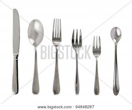 Set of steel metal table cutlery