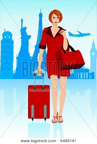 Woman With Luggage_travelling