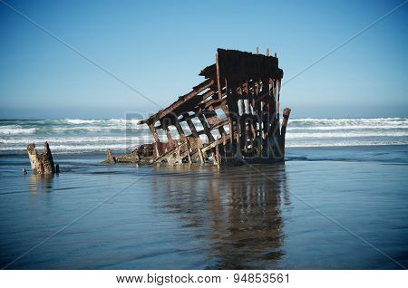 Shipwreck In Ocean Waves
