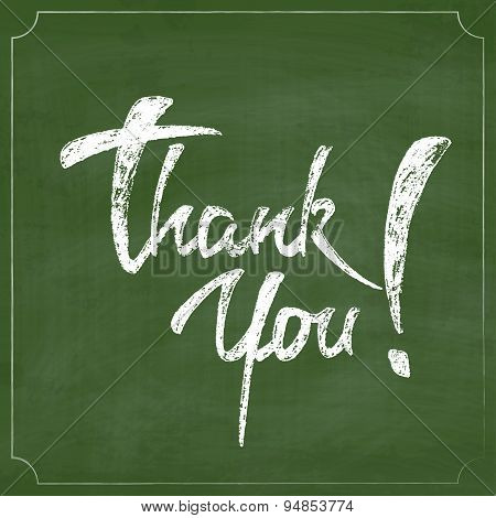 Thank You Chalk Hand Drawing Greeting Card over Green Chalkboard