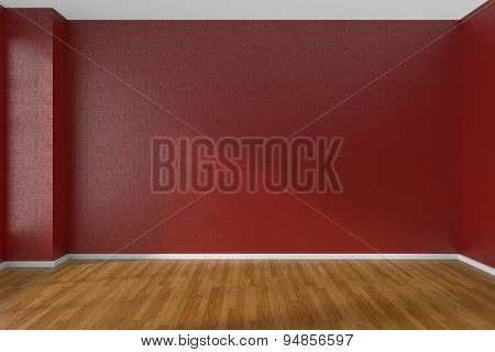 Empty room with red walls and wooden parquet floor under sunlight through window 3D illustration poster