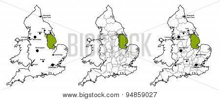 Maps of England with and without major cities and county boundaries, showing location of county of Lincolnshire poster