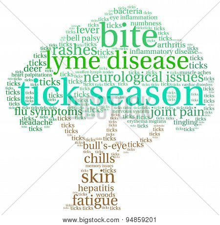 Tick Season Tree Shaped Word Cloud