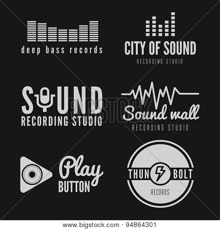 Set of logo and logotype elements for recording studio or sound production poster