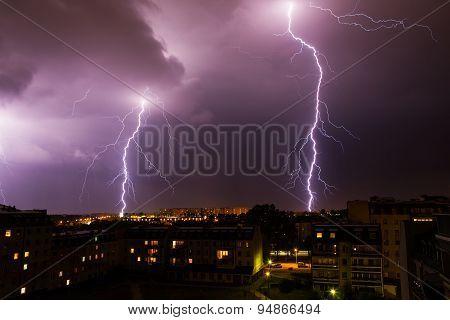 Lightning Storm Over City.