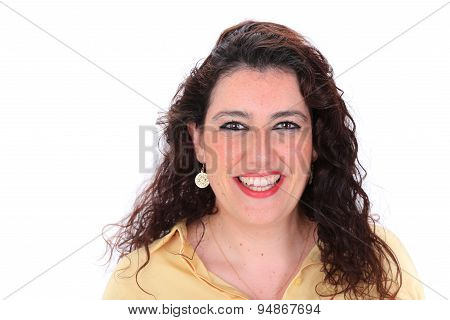 Face Forward Headshot Of A Spanish Woman With Dark Curly Hair