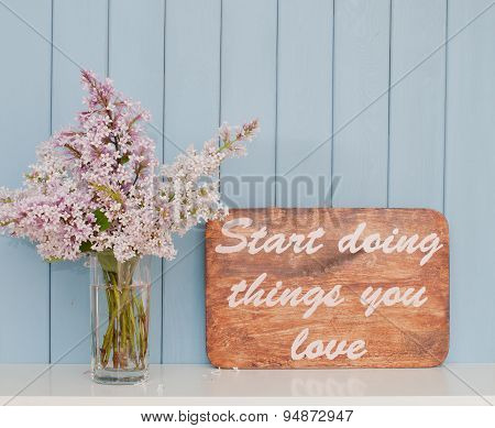 Vintage Inspiring Poster And Bunch Of Lilac