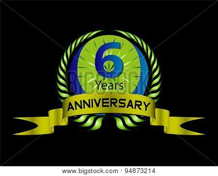 Celebration Anniversary golden laurel wreath, 6 years