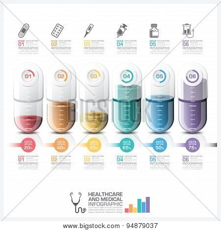 Healthcare And Medical Infographic With Pill Capsule Timeline Step Diagram