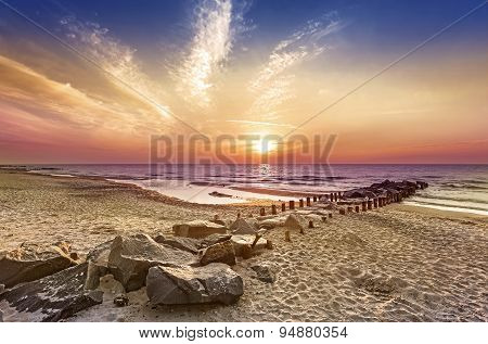 Magical sunset over Baltic Sea coast Miedzyzdroje in Poland. poster