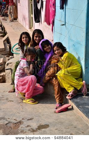 Jodhpur, India - January 2, 2015: Portrait Of Indian Children In A Village In Jodhpur