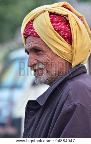 Jodhpur, India - January 2, 2015: Unidentified Indian Senior Man In The Jodhpur Village