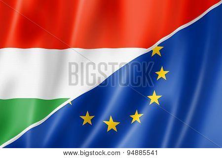 Hungary And Europe Flag