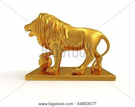 Golden Statue Of A Lion (left View)
