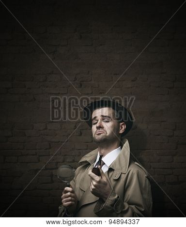 Funny vintage investigator in trench coat holding a pipe poster