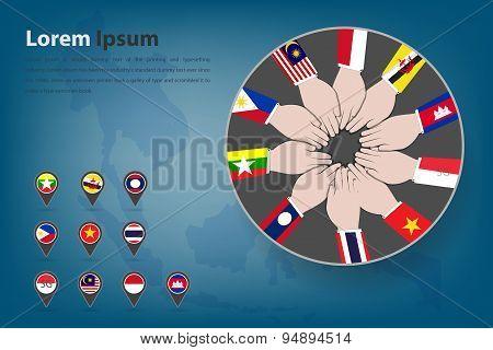 Asean Economic Community (AEC) corpotation theme in vector style (EPS10) poster