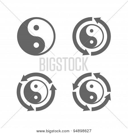 Ying yang eternal moving energy icon