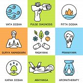 Set linear icons for ayurveda design. Ayurveda vector illustration. Ayurveda logo in outline style. Design elements for ayurveda center, yoga studio, spa center. Ayurveda sticker. Ayurveda symbols. poster