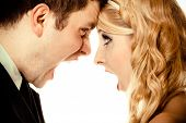 Wedding couple relationship difficulties. Angry woman man yelling at each other. Portrait fury bride groom. Face to face. Negative bad communication human emotions facial expression. poster