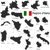 silhouettes of european country Italia and the regions poster