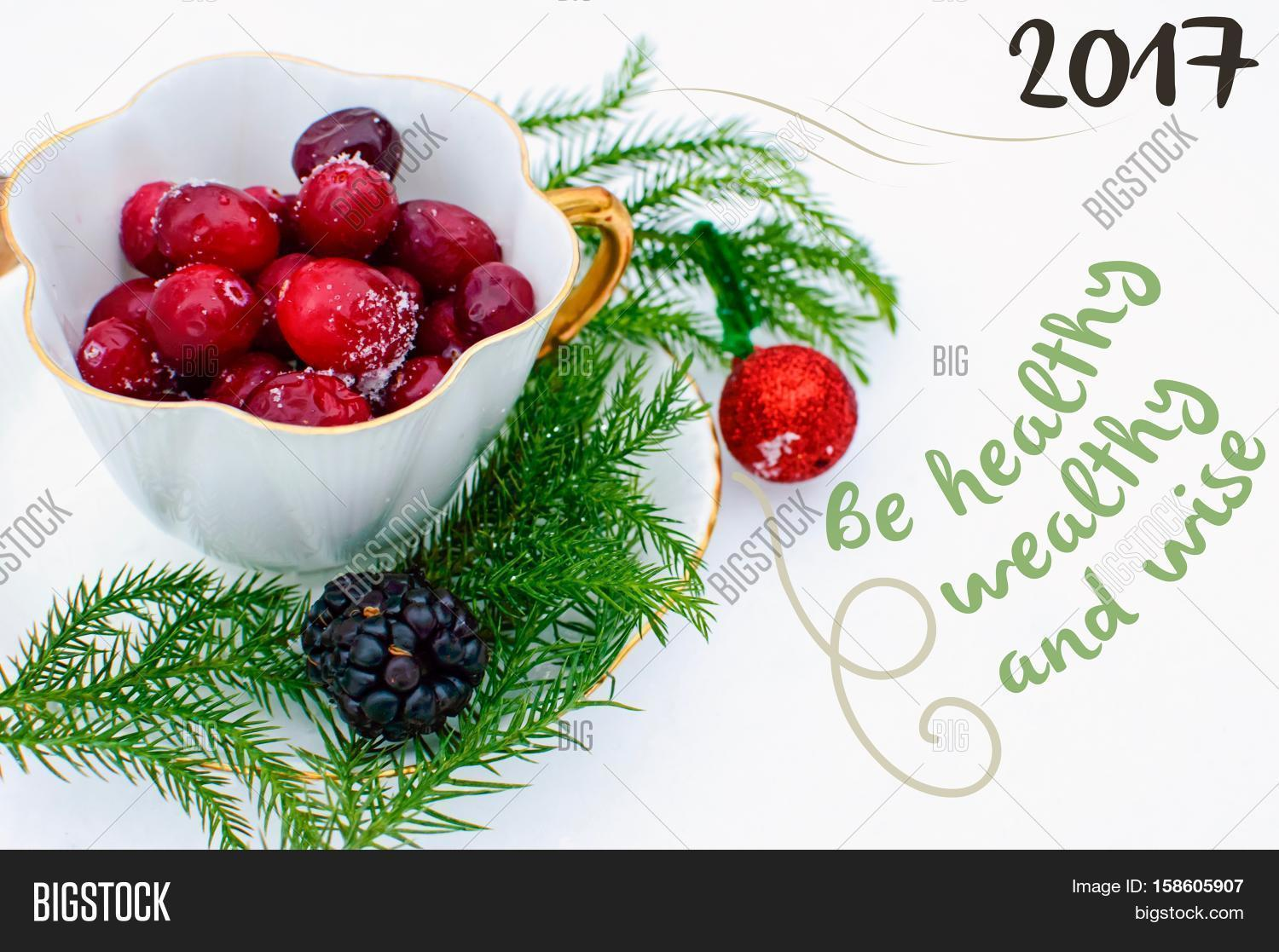 new years wishes 2017 be healthy wealthy and wise resolution holiday greeting card nature background