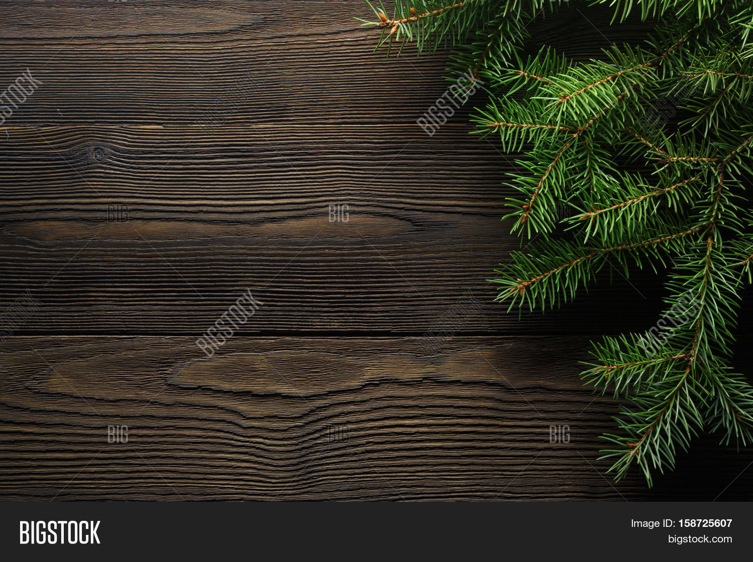 Christmas Wooden Background With Fir Tree Wreath Rustic Wood