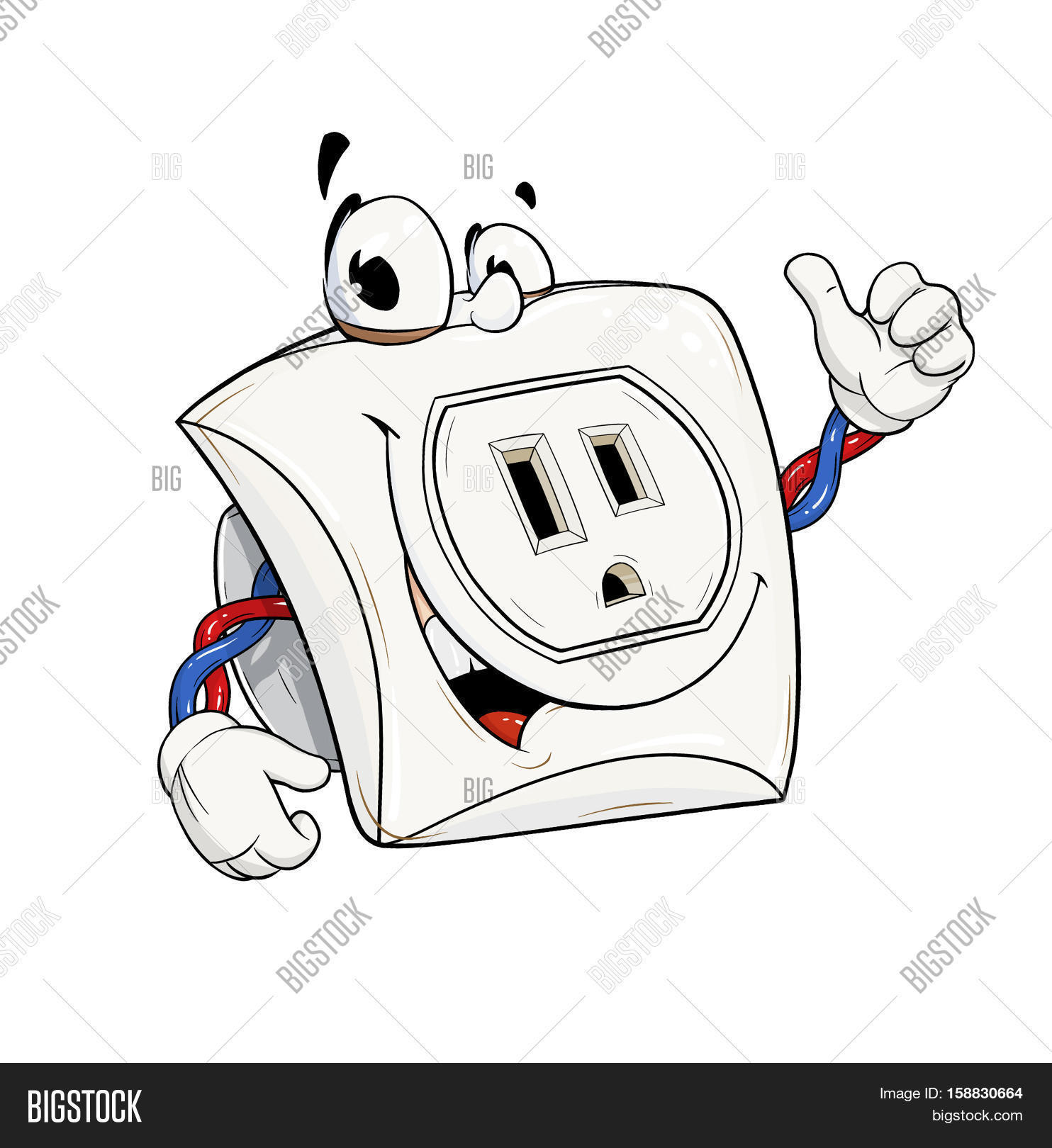 Electric Power Socket USA Type Outlet Cartoon Character Show OK Energy Element Good