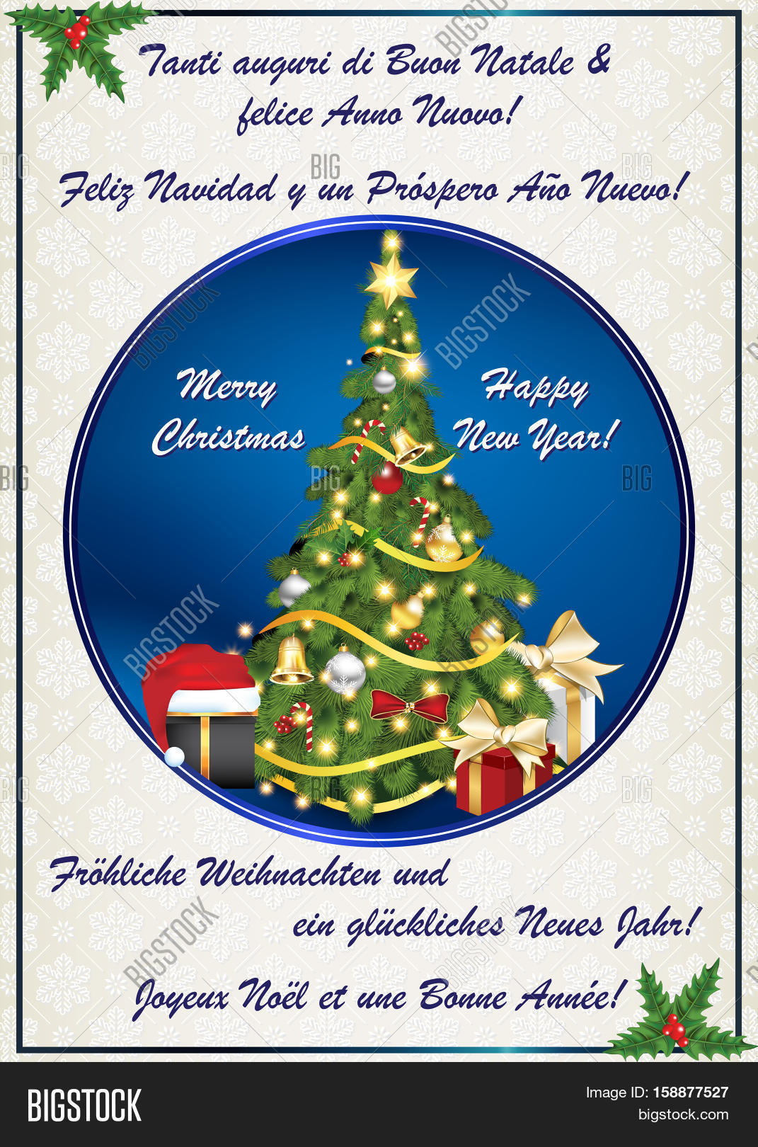 multilanguage classic winter holiday greeting card merry christmas and happy new year italian - Merry Christmas And Happy New Year In Italian