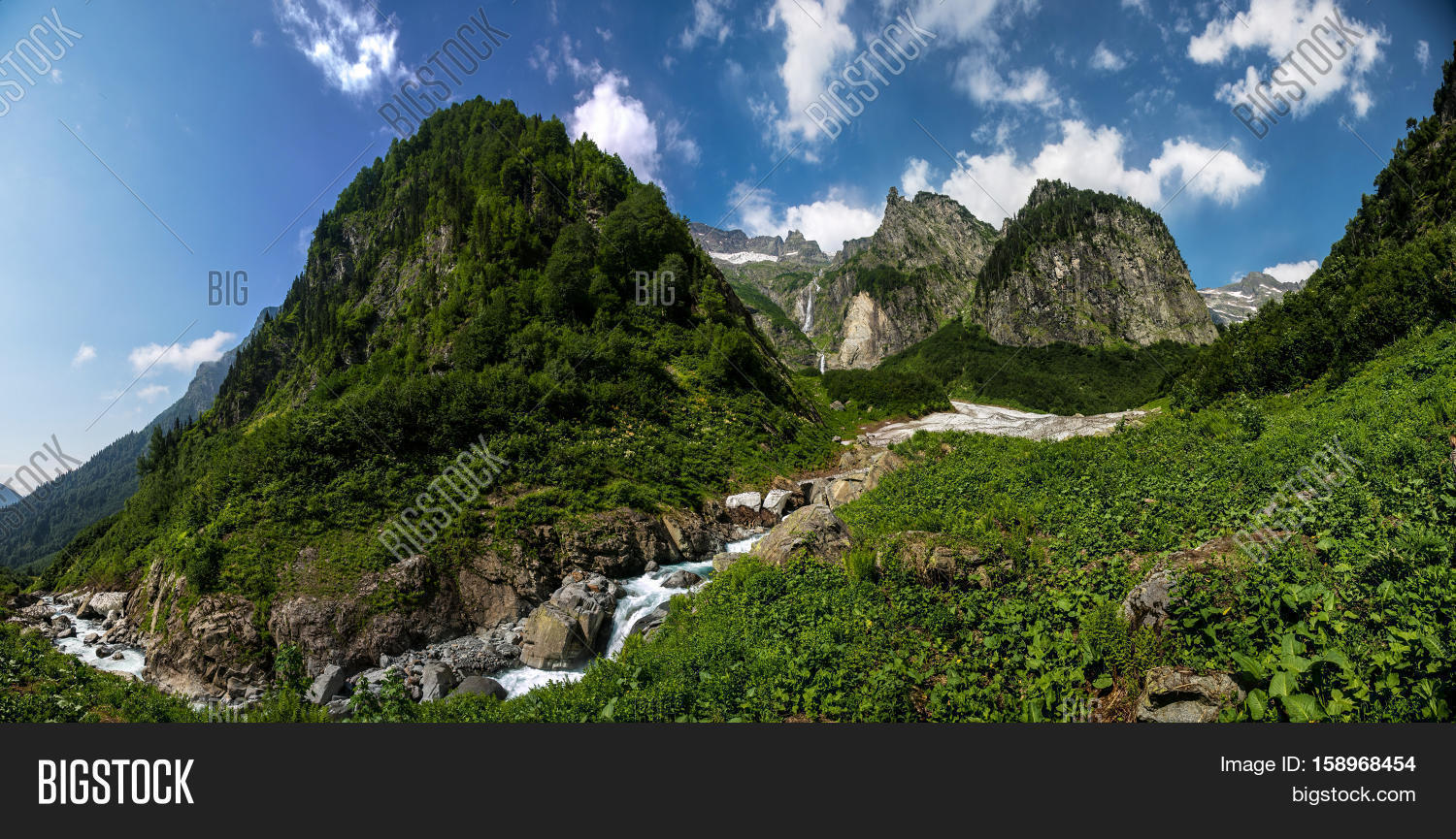 cool mountain backgrounds. Nature View, Cool Mountain River Stream Flowing From Under The Glacier On Background Of Backgrounds