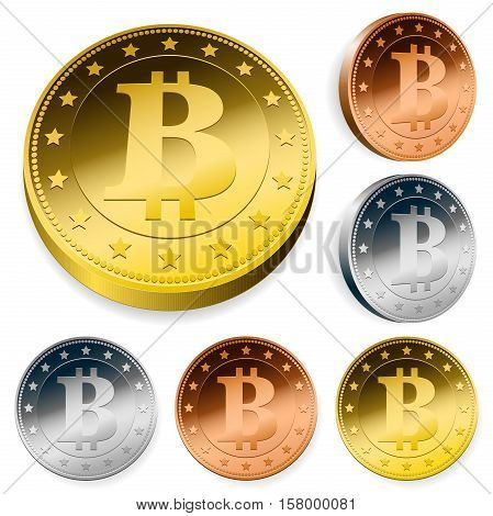 Bitcoin money set with gold silver and bronze coins viewed overhead and at an angle isolated on white vector illustration
