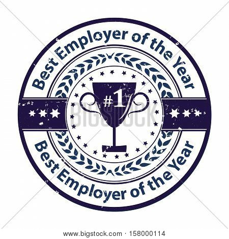 Best Employer of the year - business grunge award label / stamp. Blue color distinction with champions cup. Print colors used