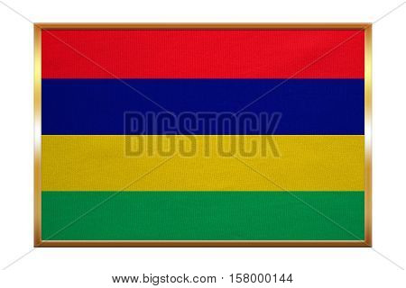 Mauritian national official flag. African patriotic symbol banner element background. Correct colors. Flag of Mauritius golden frame fabric texture illustration. Accurate size color