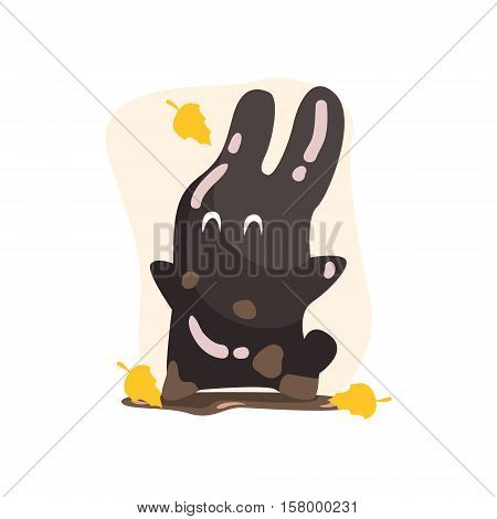 Black Tar Jelly Rabbit Shape Monster Smiling Under Falling Yellow Leaves Outdoors In Autumn Season. Part Of Autumn Fantastic Animal Creatures Set Of Funny Cartoon Vector Illustrations