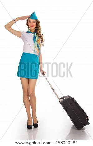 The young, beautiful stewardess holds baggage on a white background