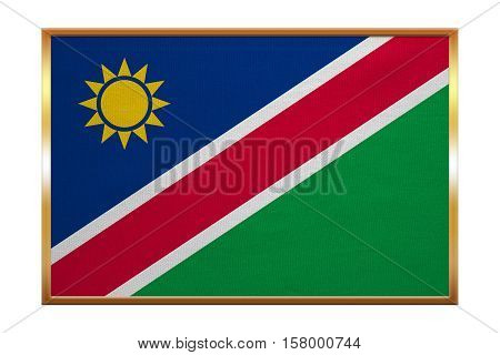 Namibian national official flag. African patriotic symbol banner element background. Correct colors. Flag of Namibia golden frame fabric texture illustration. Accurate size color