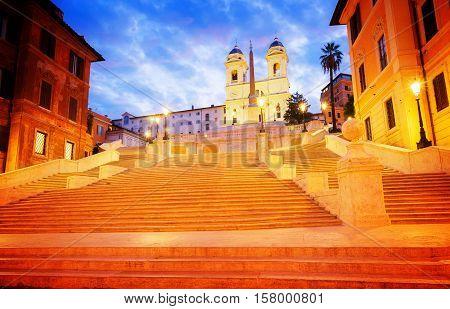 Spanish Steps illuminated at night, Rome, Italy, retro toned
