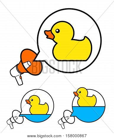Cute yellow rubber symbols inside speech balloons with megaphone over white vector illustration