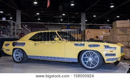 LAS VEGAS NV/USA - OCTOBER 31 2016: Customized Chevrolet Camaro car at the Specialty Equipment Market Association (SEMA) 50th Anniversary auto trade show.
