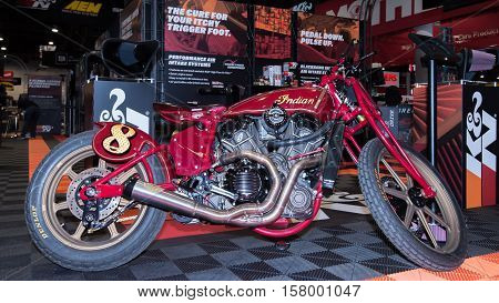 LAS VEGAS NV/USA - OCTOBER 31 2016: Customized Indian motorcycle at the Specialty Equipment Market Association (SEMA) 50th Anniversary auto trade show. Booth: K&N Engineering