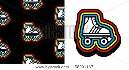 Eighties roller skate icon with colorful frame and a matching seamless background pattern on black for print and textile vector illustration