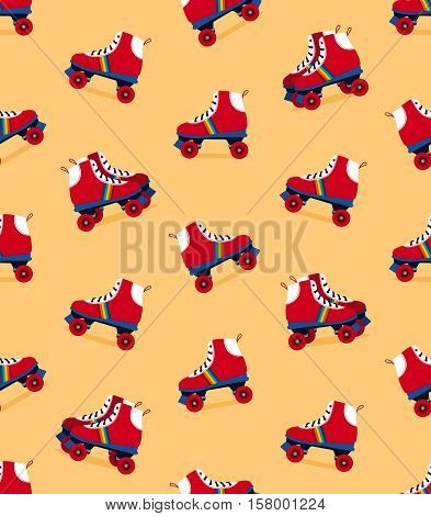 Seamless pattern of red and rainbow color striped seventies retro rollerskate shoes on yellow background vector illustration