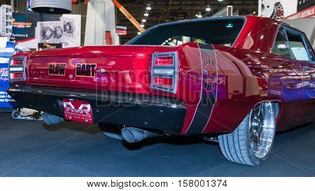 LAS VEGAS NV/USA - NOVEMBER 3 2016: Customized 1968 Dodge Dart GTS car at the Specialty Equipment Market Association (SEMA) 50th Anniversary auto trade show. Name: Blow Dart Booth: Trick Flow Specialties