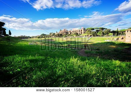 Circus Maximus - roman famous ruins in Rome at sunny day, Italy, toned