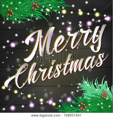 merry Christmas lettering Background with tree , lights adn show decorations