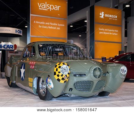 LAS VEGAS NV/USA - OCTOBER 31 2016: Customized 1950 Studebaker car at the Specialty Equipment Market Association (SEMA) 50th Anniversary auto trade show. Name: Memphis Belle Builder: Anton's Hot Rod Shop Booth: Valspar